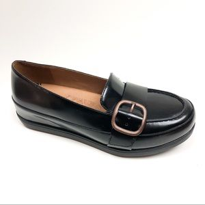 FitFllop Leather Beau Buckle Loafers Black